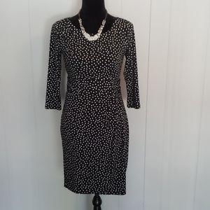 Ann Taylor Petite Black White Polka Dot Dress